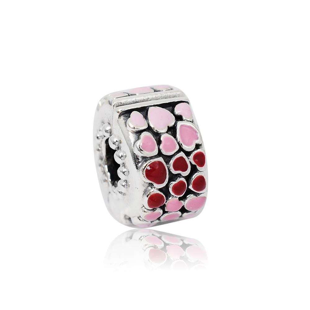 Pandora 潘朵拉 漸層粉x紅愛心夾釦扁珠 純銀墜飾 串珠