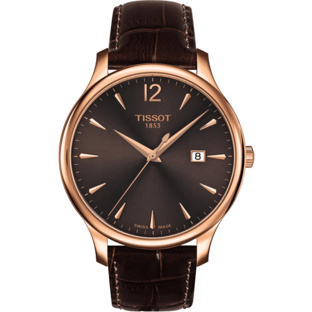 TISSOT Tradition 經典大錶面簡約腕錶-咖啡x玫瑰金框/42mm