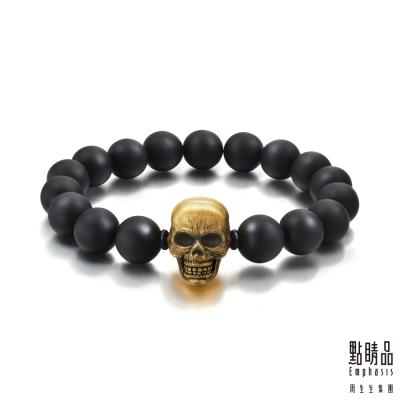 點睛品 Noir系列 小骷顱頭 黃金手環(21cm)