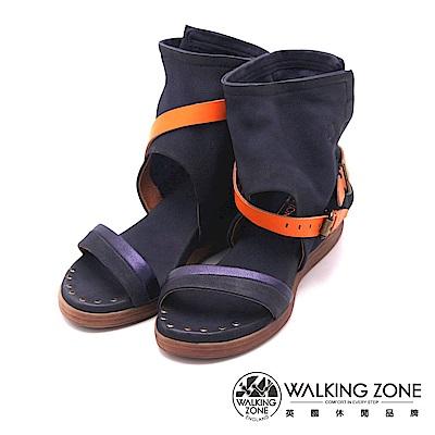 Walking Zone真皮 羅馬渡假風護踝涼鞋-深藍