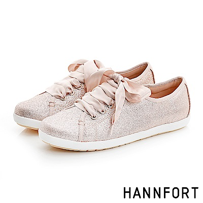 HANNFORT CALIFORNIA閃耀光澤緞帶休閒鞋-女-玫瑰金-動態show