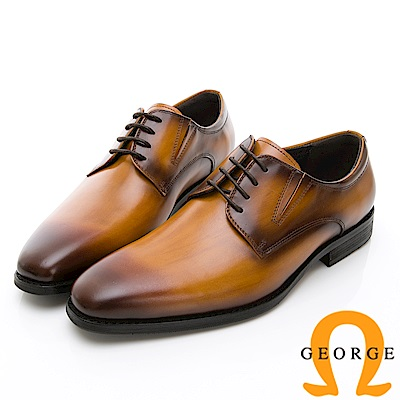 Amber 手工漸層綁帶紳士鞋皮鞋-棕