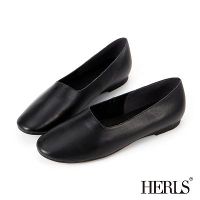 HERLS-全真皮-文青氣息全素面平底休閒鞋-黑色
