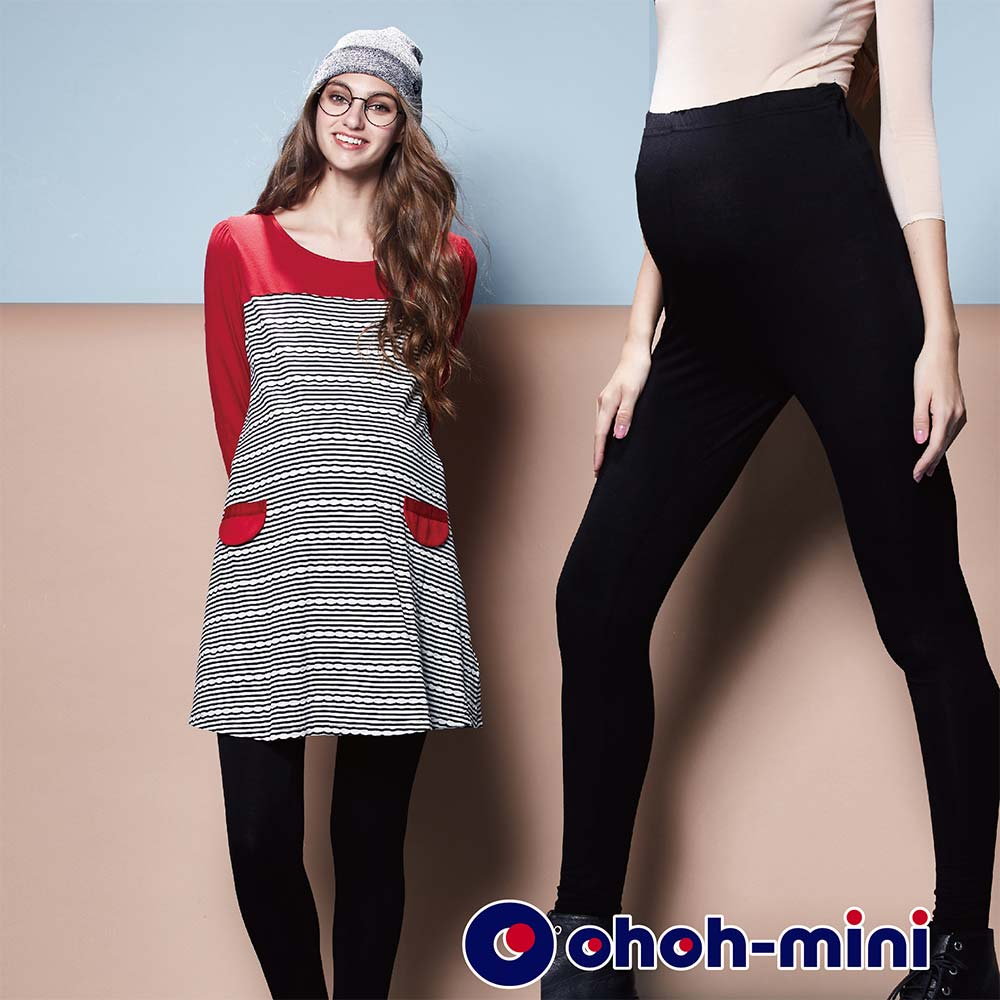 ohoh-mini 孕婦裝 舒適絲光棉孕婦內搭褲-黑色