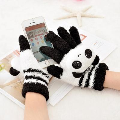 Seoul Show 卡通動物防寒保暖毛巾布觸控手套 貓熊