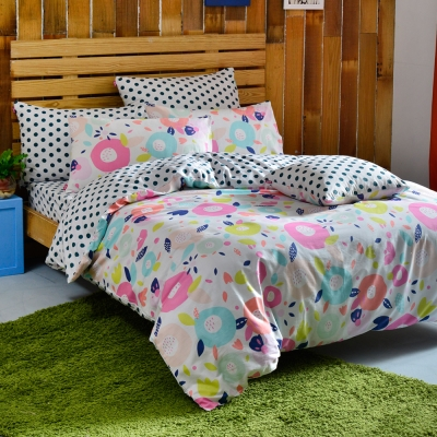 英國Abelia 漾彩點點 雙人純棉四件式被套床包組
