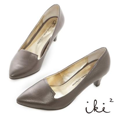 iki2時尚美姬-蛇紋百搭素面尖頭高跟鞋-金屬灰