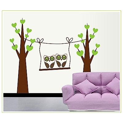 大尺寸高級創意壁貼 / 牆貼  花草系列-貓頭鷹卡通樹