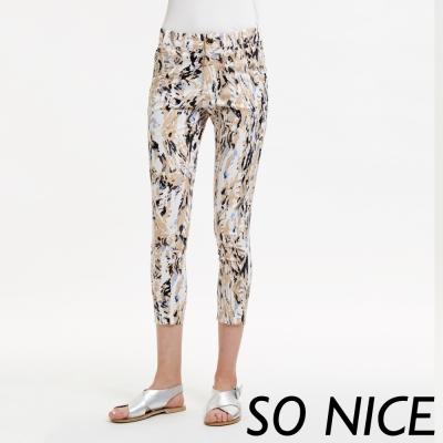 SO NICE藝術潑墨印花設計長褲