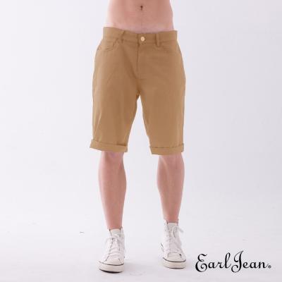 Earl Jean 素色合身舒適休閒短褲-卡其-男