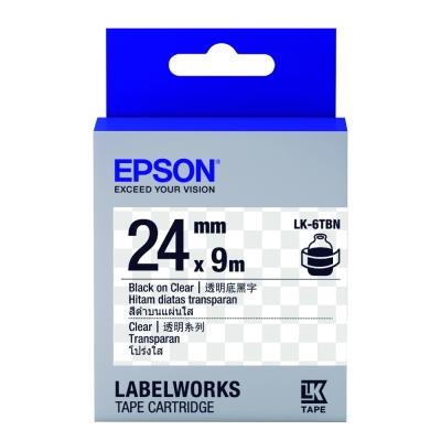 EPSON C53S656406 LK-6TBN透明系列透明底黑字標籤帶(寬度24mm)