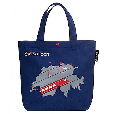 MONDAINE 瑞士國鐵火車地圖帆布肩背包-海藍