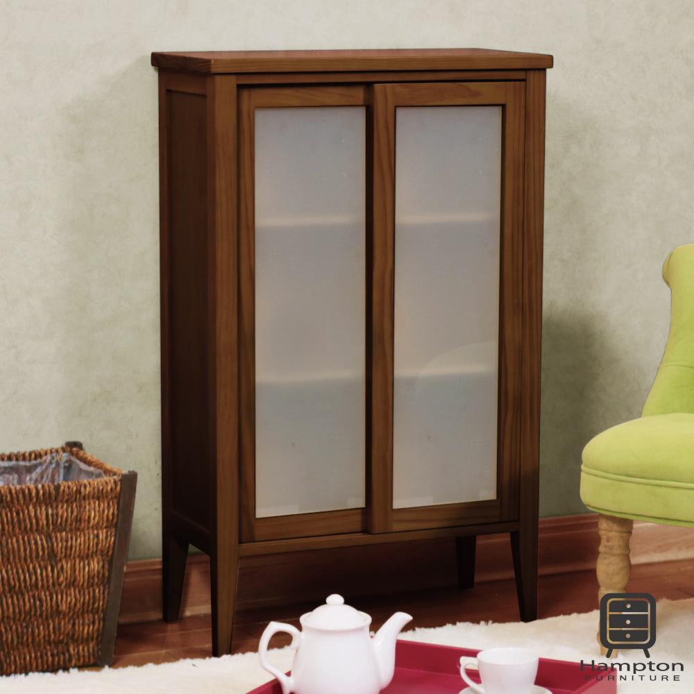漢妮Hampton凱恩松木實木小雙門玻璃櫃-深色55.5 x 30 x 88.5 cm
