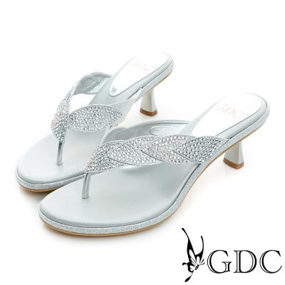 GDC-雙色拼貼水鑽高跟夾腳涼拖鞋-銀色