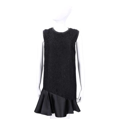Max Mara-SPORTMAX 黑色蕾絲織花拼接荷葉裙擺無袖洋裝