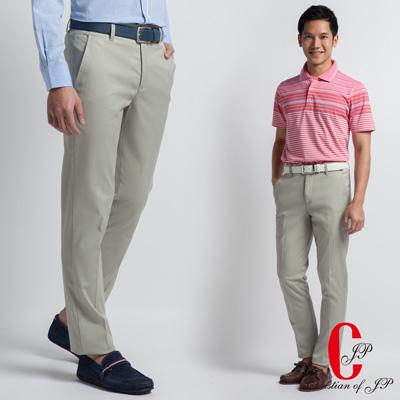 Christian-時尚品味極柔軟平面休閒長褲 卡其(HS409-1)