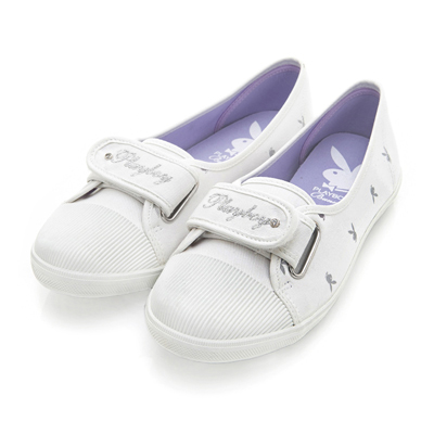 PLAYBOY 悠閒時光 率性輕便單寧風便鞋-白