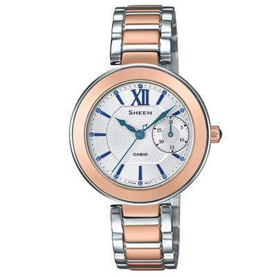 SHEEN羅馬時刻施華洛世奇時尚簡約腕錶(SHE-3050SG-7)-金框X白面/32mm