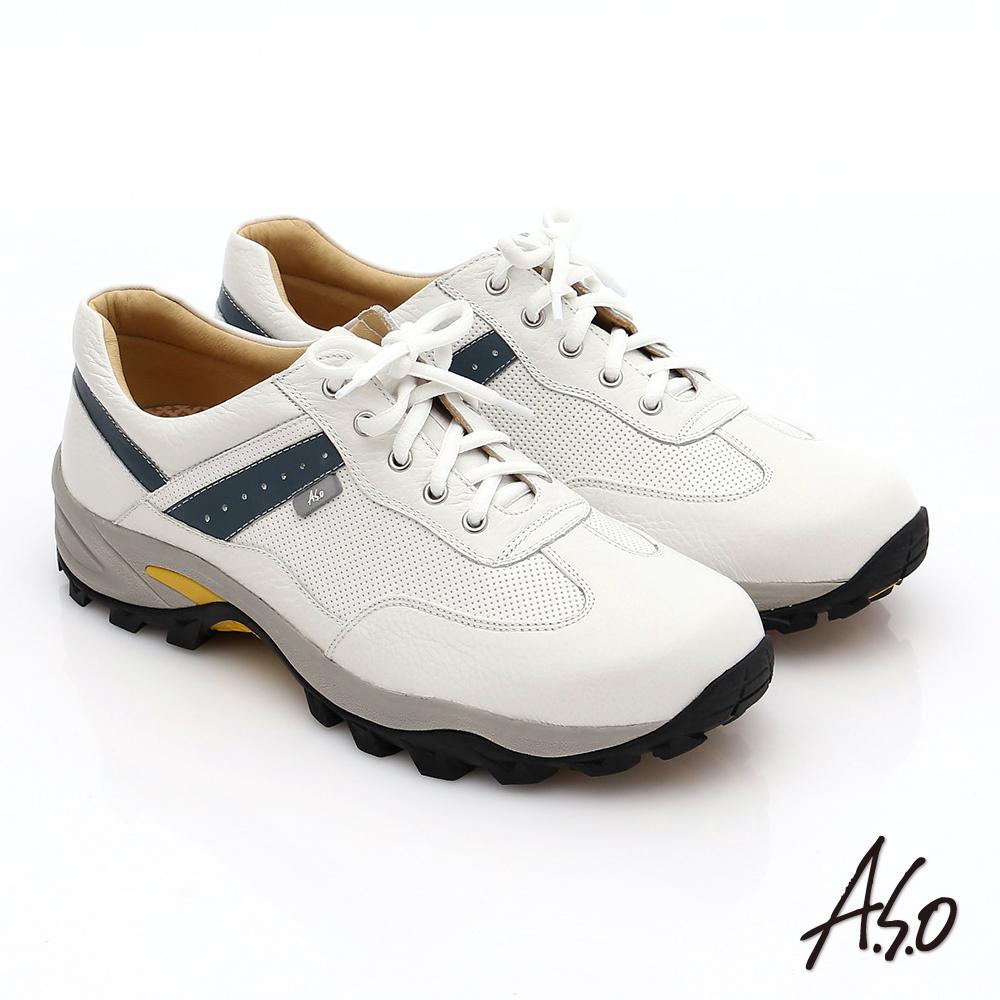 A.S.O 前彈性後避震II 壓紋牛軟皮綁帶奈米休閒鞋 白