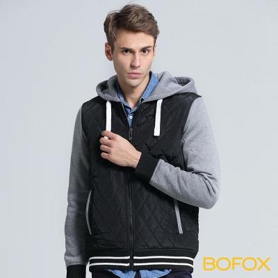 BOFOX 連帽衍縫棒球外套-黑