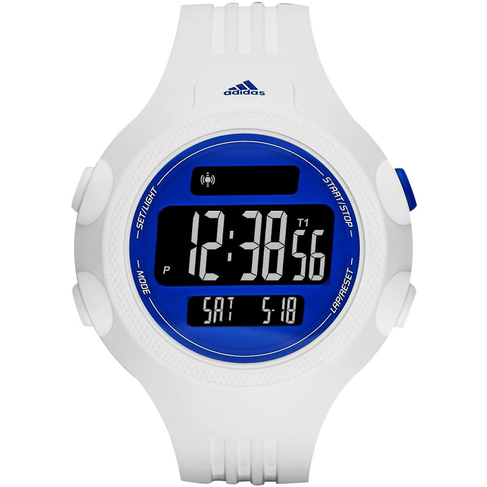 adidas精英休閒冷光電子腕錶-藍x白52mm