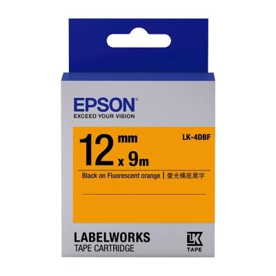 EPSON C53S654416 LK-4DBF螢光系列橘底黑字標籤帶(寬度12mm)