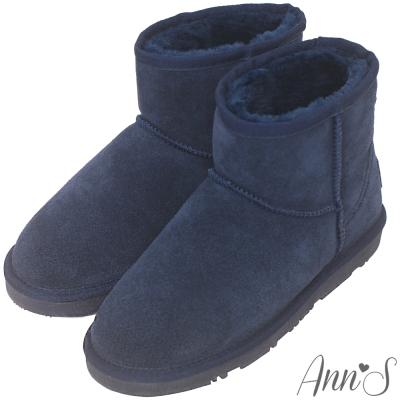 Ann'S溫暖系-真皮素面厚毛短筒雪靴-深藍