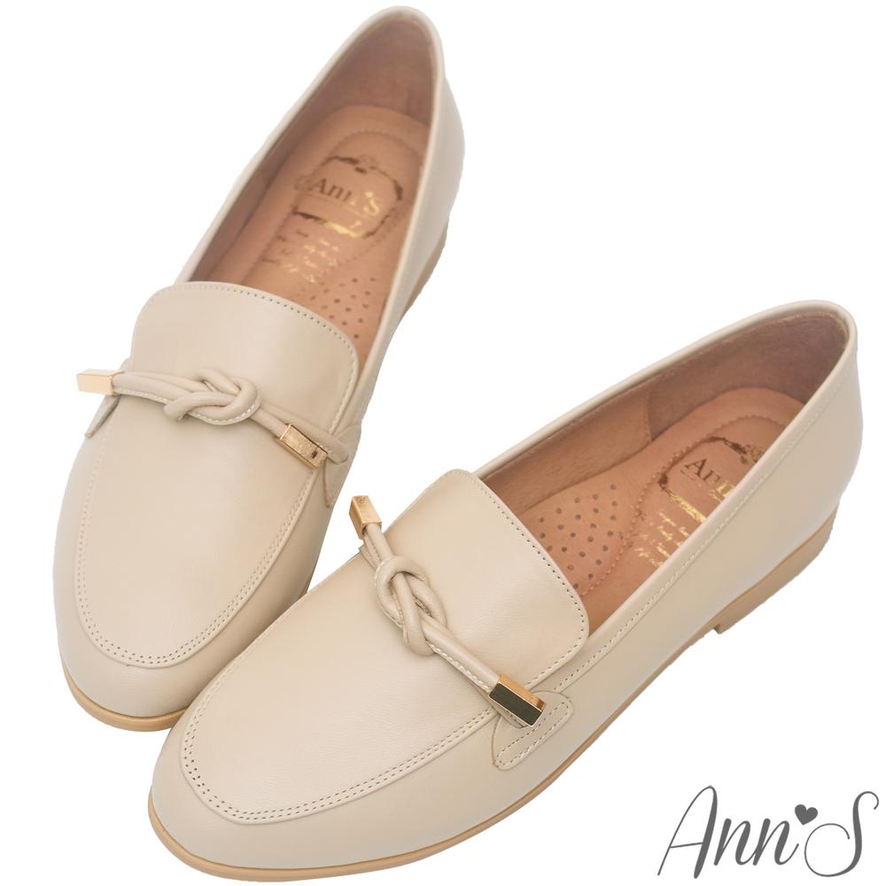Ann'S知性文藝-雙結柔軟綿羊皮紳士平底鞋-杏(版型偏大)