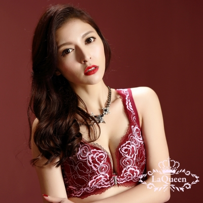 內衣  刺繡蠶絲內襯L型無鋼圈成套內衣-紅 La Queen