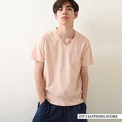 有機棉V領短袖TEE(8色) ZIP日本男裝