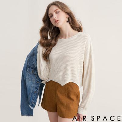 AIR SPACE 波浪剪裁短版粗針織上衣(白)