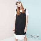 OUWEY歐薇 時尚條紋拼接背心洋裝(黑)