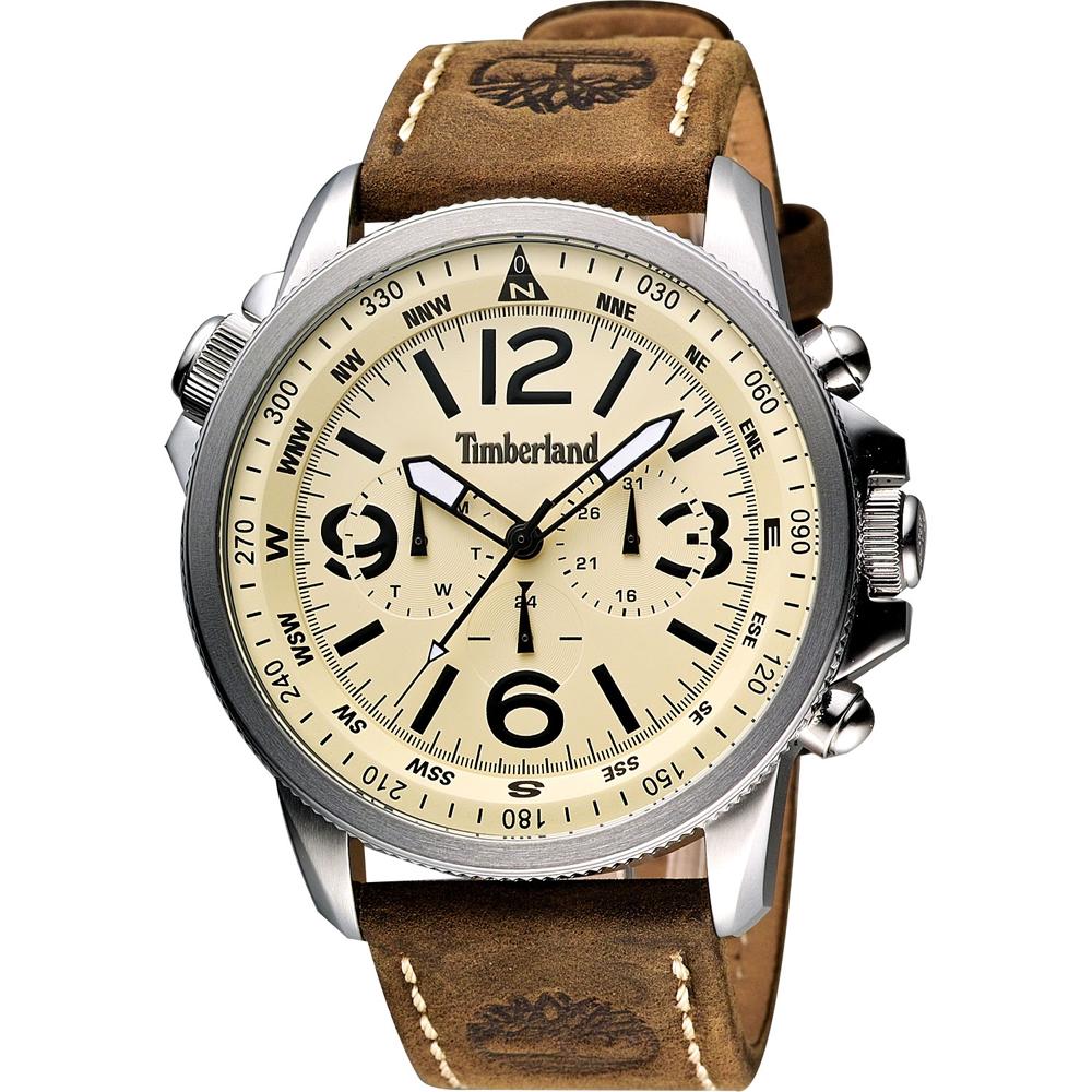 Timberland 叢林野戰時尚日曆腕錶-卡其黃/45mm