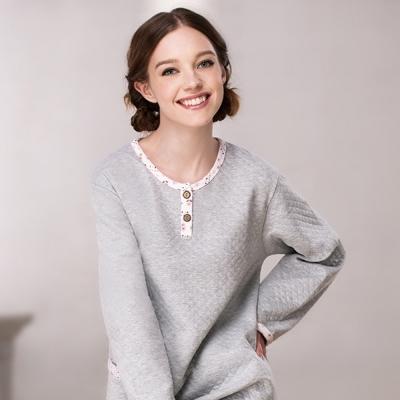 羅絲美睡衣 - 自然原味長袖褲裝睡衣 (淺灰色)