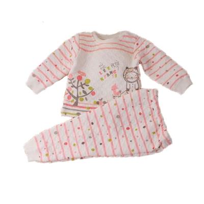 點點條紋三層棉極暖睡衣套裝 粉 k60220