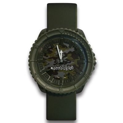 Wize&Ope Crunch系列-軍事元素硬派腕錶-迷彩綠/47mm