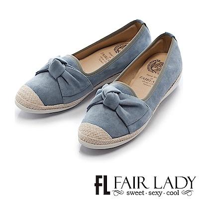 Fair Lady Soft Power軟實力 俏麗蝴蝶結草編休閒鞋 藍