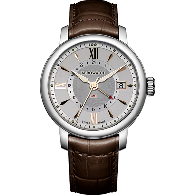 AEROWATCH Renaissance GMT 二地時區腕錶-銀/皮帶/40mm