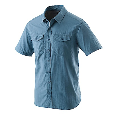 【Wildland 荒野】男排汗抗UV短袖襯衫中藍