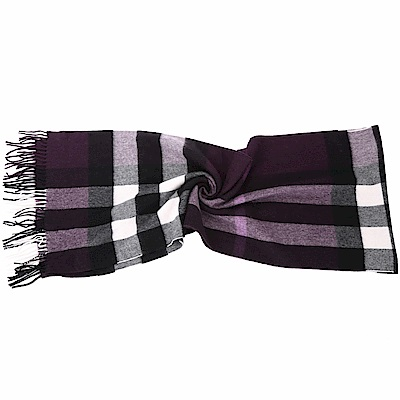 BURBERRY 100%喀什米爾深紫色大格紋羊毛圍巾(200x36CM)