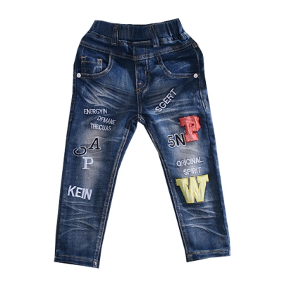 水洗紋 鬆緊帶 直筒修身牛仔褲 k 60402
