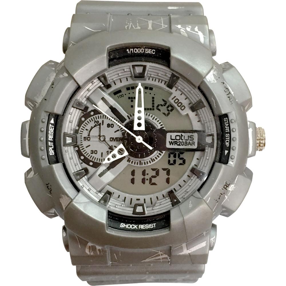 Lotus 蠟筆塗鴉 計時鬧鈴雙顯運動錶(LS-3187-15)-灰/52mm