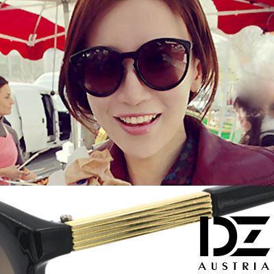 【2件59折】DZ 線潮廓型 抗UV太陽眼鏡造型墨鏡(金飾腳黑系)