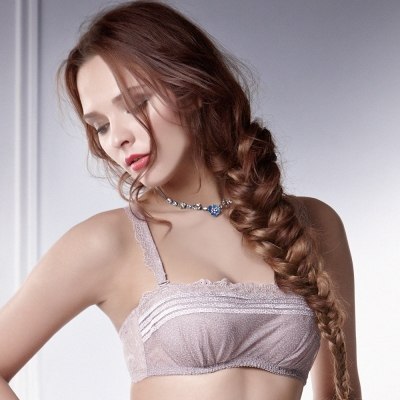La Felino - 詩紋輕舞瑞士進口蕾絲B-E罩杯小可愛 (卡其色)