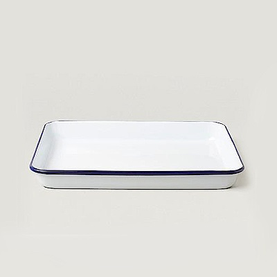 Falcon英國 獵鷹琺瑯 藍白長形托盤
