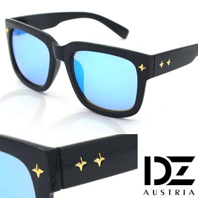【2件59折】DZ 十字閃光釘 抗UV太陽眼鏡造型墨鏡(淺冰藍膜)