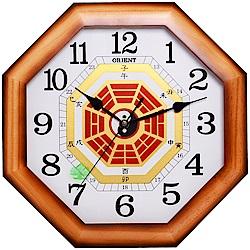 ORIENT 東方 實用木製外殼 完美八卦造型 時鐘 掛鐘 (WL-010C)-35cm