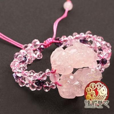 金碧輝煌粉晶貔貅手鏈-手鍊