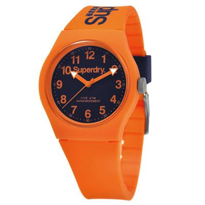 Superdry 極度乾燥 多彩 矽膠 運動腕錶-橘帶/藍面/37mm