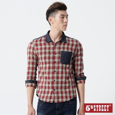 5th-STREET-配布口袋長袖襯衫-男-中灰桔